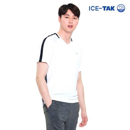 남성 아이스탁 제로 라운드 티셔츠 화이트