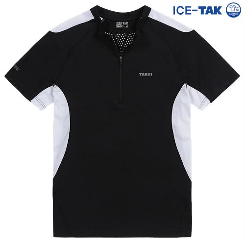 남성 맥스 쿨 반팔 짚 티셔츠 블랙