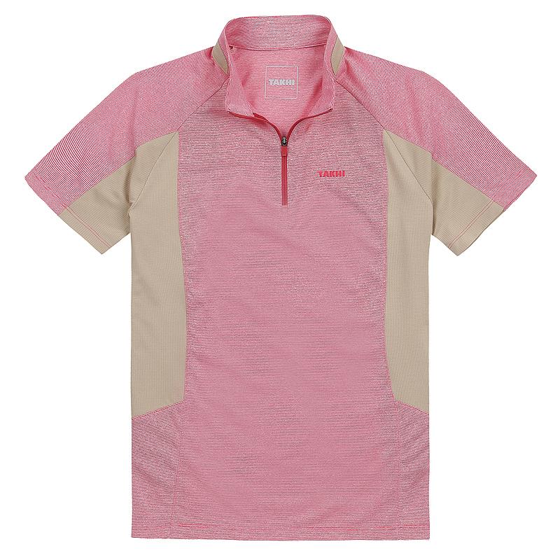여성 포레스트 반팔 짚 티셔츠 스칼렛