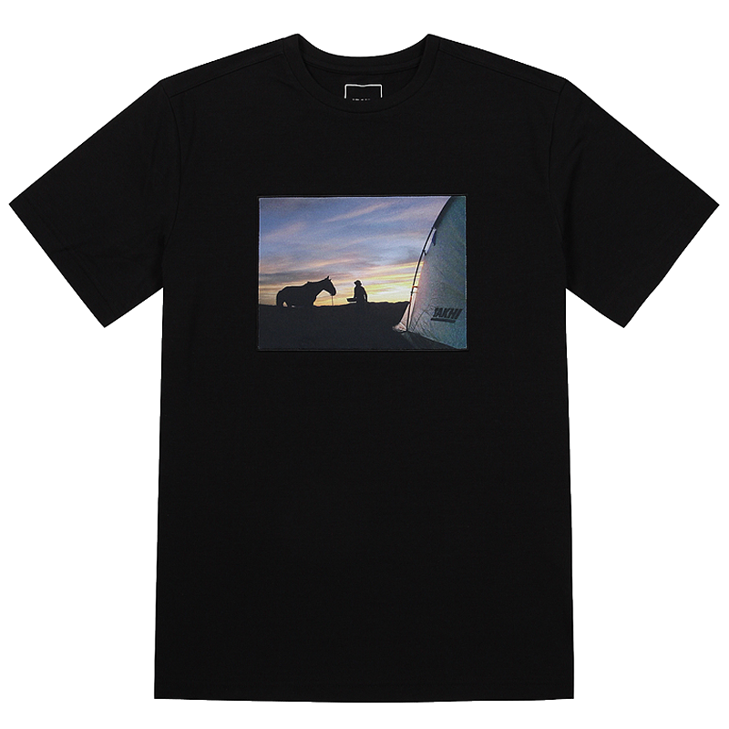 유니 포토 라운드 티셔츠 블랙