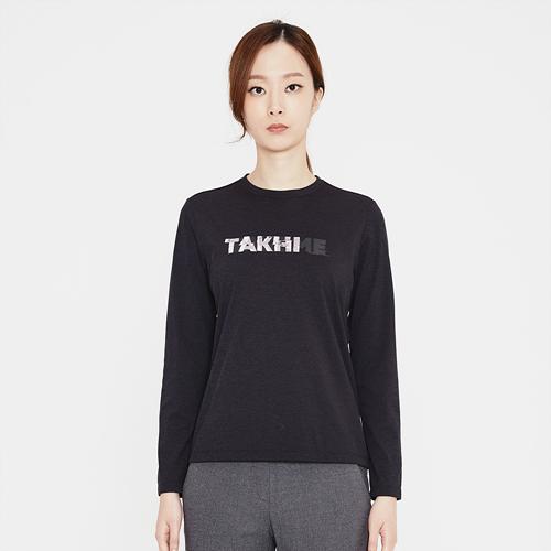 여성 크루 로고 라운드 티셔츠 블랙