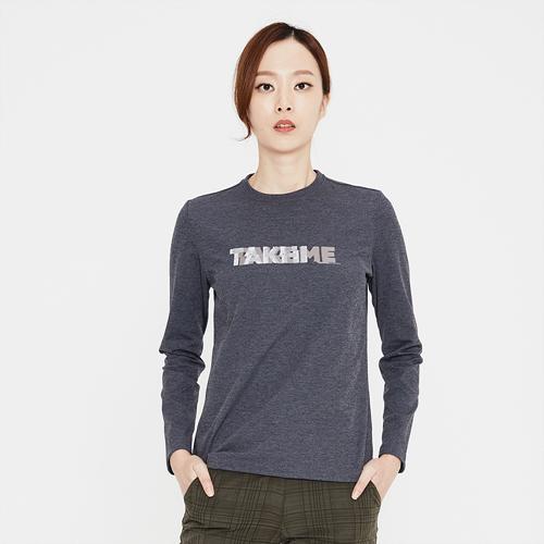 여성 크루 로고 라운드 티셔츠 챠콜