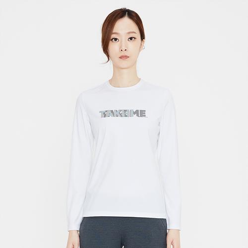 여성 크루 로고 라운드 티셔츠 화이트