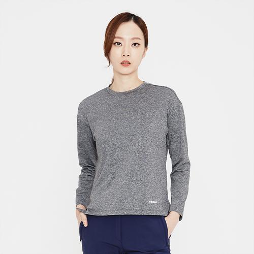 여성 로고 프린트 라운드 티셔츠 차콜