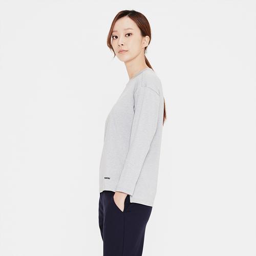 여성 로고 프린트 라운드 티셔츠 라이트그레이