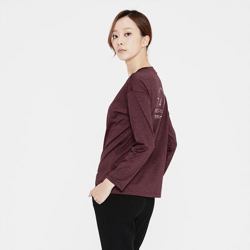 여성 로고 프린트 라운드 티셔츠 와인
