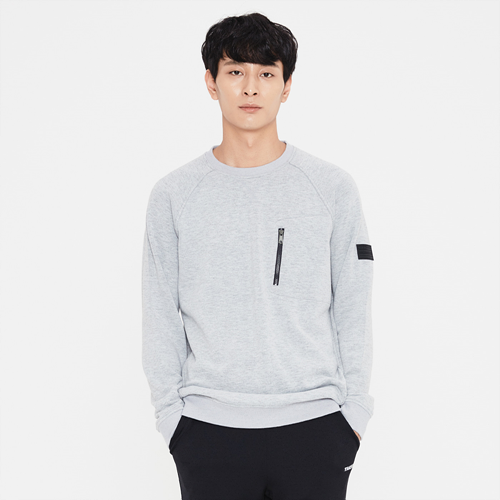 남성 플럭스 맨투맨 티셔츠 멜란지그레이