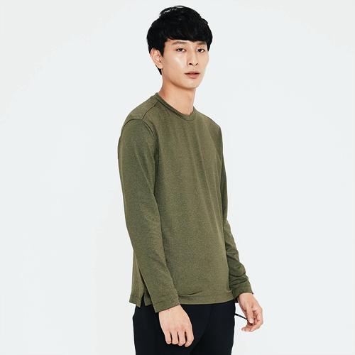 남성 로고 프린트 라운드 티셔츠 라이트 카키