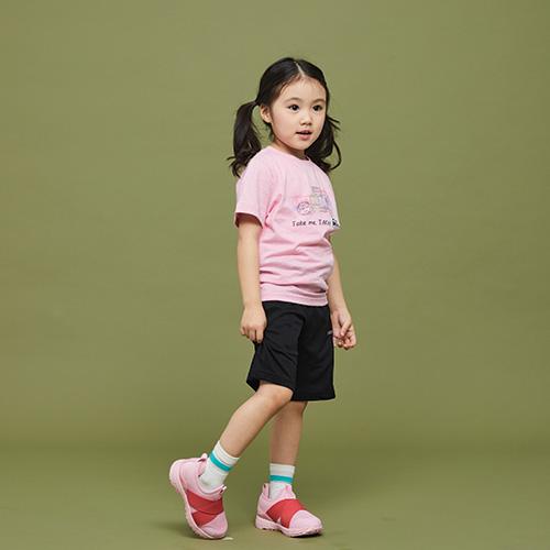 키즈 스탬프 티셔츠 핑크
