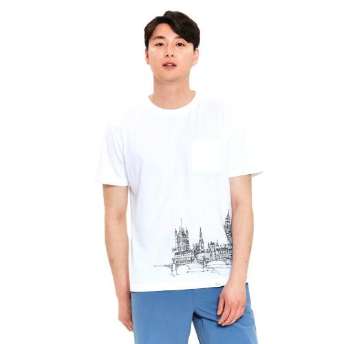 남성 랜드마크 티셔츠 화이트