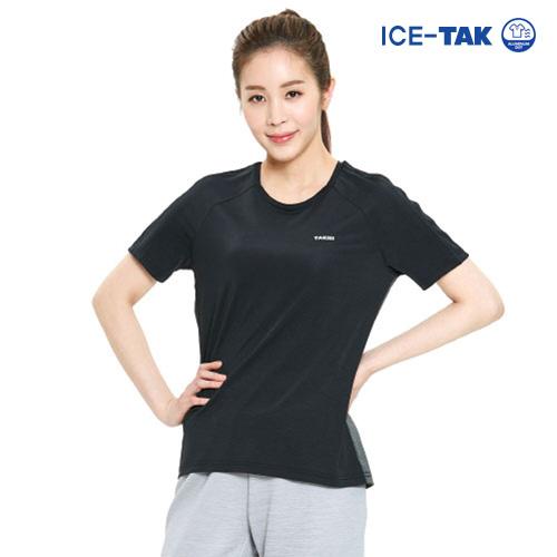 여성 아이스탁 제로 라운드 티셔츠 블랙
