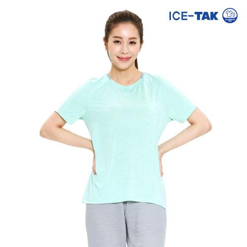 여성 아이스탁 제로 라운드 티셔츠 민트