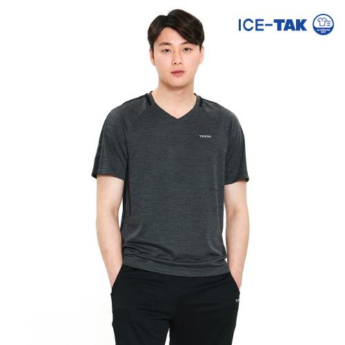 남성 아이스탁 제로 라운드 티셔츠 차콜
