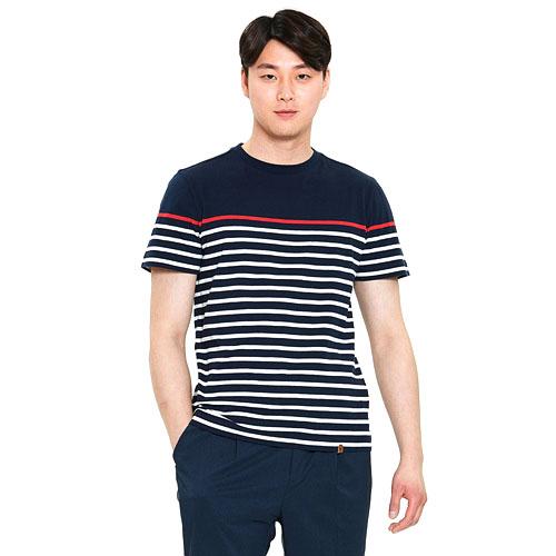 남성 크루즈 스트라이프 티셔츠 네이비