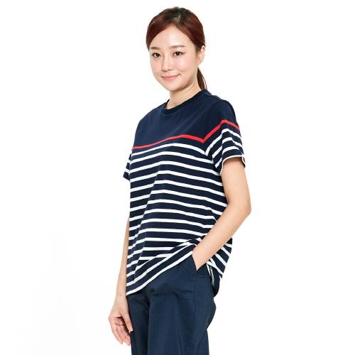여성 크루즈 스트라이프 티셔츠 네이비