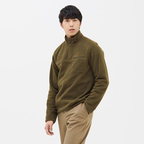 남성 스너그 스냅 티셔츠 다크올리브