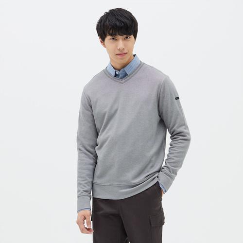 남성 크레이브 브이넥 티셔츠 멜란지그레이