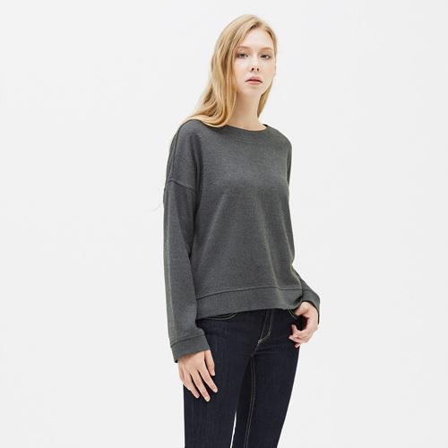 여성 크레이브 와이드넥 티셔츠 차콜