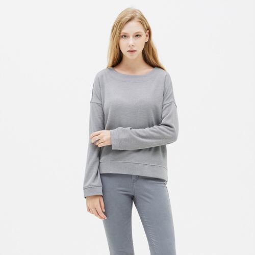 여성 크레이브 와이드넥 티셔츠 멜란지그레이