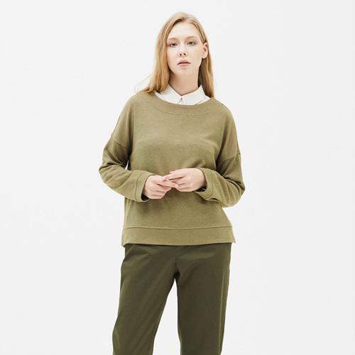 여성 크레이브 와이드넥 티셔츠 다크올리브