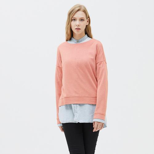 여성 크레이브 와이드넥 티셔츠 코랄