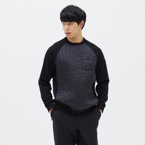 유니 테라 퀼트 맨투맨 티셔츠 블랙
