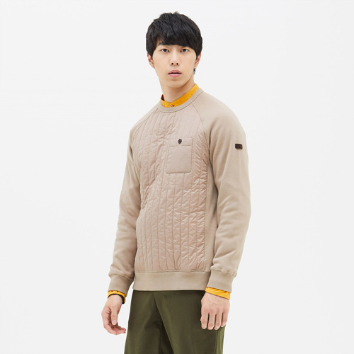 유니 테라 퀼트 맨투맨 티셔츠 다크베이지